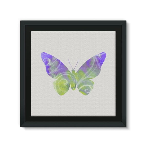 Green Purple Butterfly Framed Eco-Canvas 10X10 Wall Decor