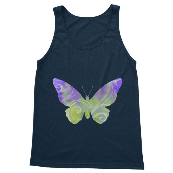 Green Purple Butterfly Softstyle Tank Top S / Navy Apparel