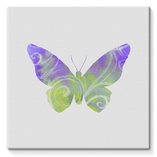 Green Purple Butterfly Stretched Eco-Canvas 10X10 Wall Decor