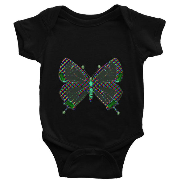 Green Rainbow Butterfly Baby Bodysuit 0-3 Months / Black Apparel