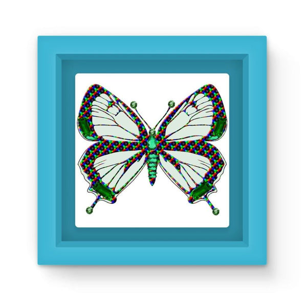 Green Rainbow Butterfly Magnet Frame Light Blue Homeware