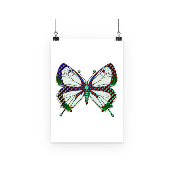 Green Rainbow Butterfly Poster A3 Wall Decor