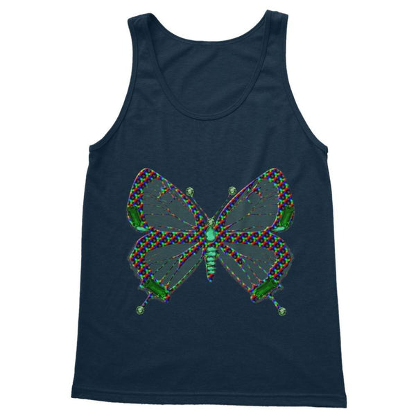 Green Rainbow Butterfly Softstyle Tank Top S / Navy Apparel