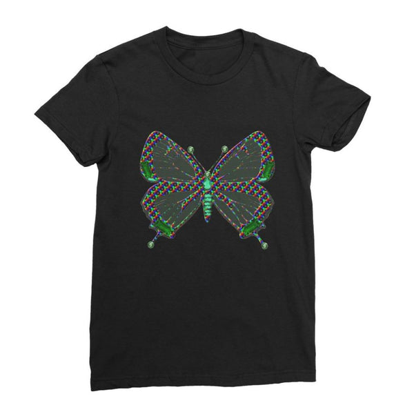 Green Rainbow Butterfly Womens Fine Jersey T-Shirt S / Black Apparel