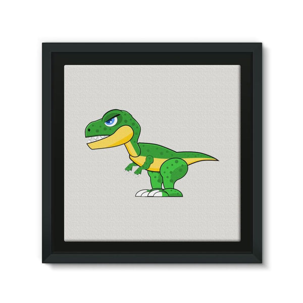 Green Rex Dinosaur Framed Canvas 12X12 Wall Decor