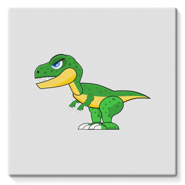 Green Rex Dinosaur Stretched Canvas 10X10 Wall Decor