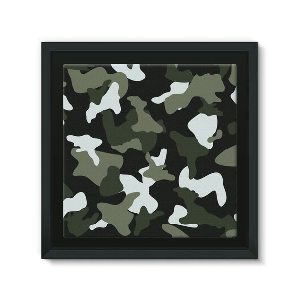 Green White Camo Pattern Framed Canvas 12X12 Wall Decor