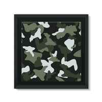Green White Camo Pattern Framed Eco-Canvas 10X10 Wall Decor