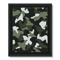 Green White Camo Pattern Framed Eco-Canvas 11X14 Wall Decor