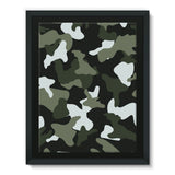 Green White Camo Pattern Framed Eco-Canvas 18X24 Wall Decor