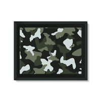 Green White Camo Pattern Framed Eco-Canvas 24X18 Wall Decor