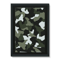 Green White Camo Pattern Framed Eco-Canvas 24X36 Wall Decor