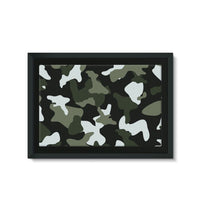 Green White Camo Pattern Framed Eco-Canvas 36X24 Wall Decor