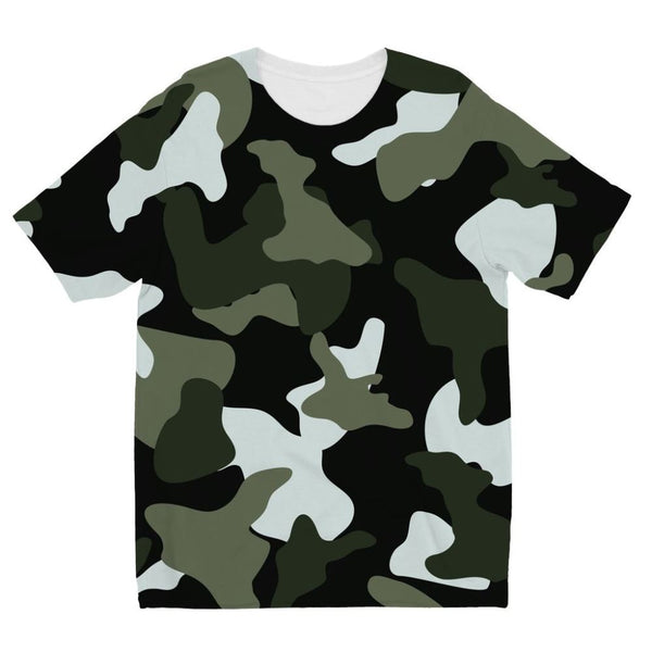 Green White Camo Pattern Kids Sublimation T-Shirt 3-4 Years Apparel