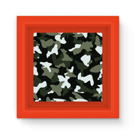 Green White Camo Pattern Magnet Frame Red Homeware