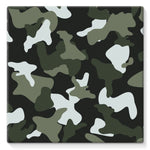 Green White Camo Pattern Stretched Canvas 10X10 Wall Decor