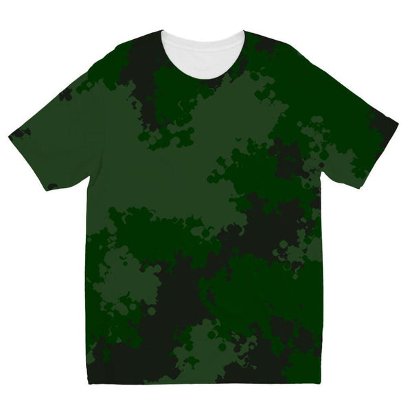 Green Woodland Camouflage Pattern Kids Sublimation T-Shirt 3-4 Years Apparel