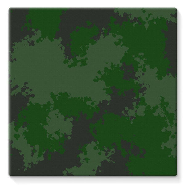 Green Woodland Camouflage Pattern Stretched Eco-Canvas 10X10 Wall Decor