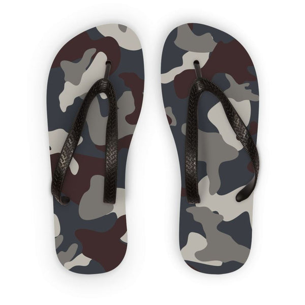 Grey Blue Army Camo Flip Flops S Accessories