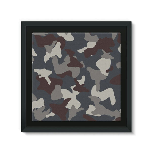 Grey Blue Army Camo Framed Canvas 12X12 Wall Decor