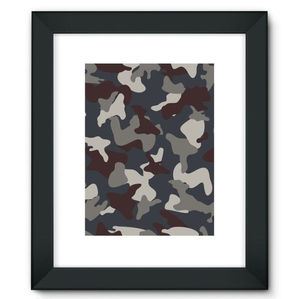 Grey Blue Army Camo Framed Fine Art Print 12X16 / Black Wall Decor