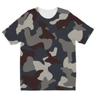 Grey Blue Army Camo Kids Sublimation T-Shirt 3-4 Years Apparel