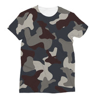 Grey Blue Army Camo Sublimation T-Shirt S Apparel
