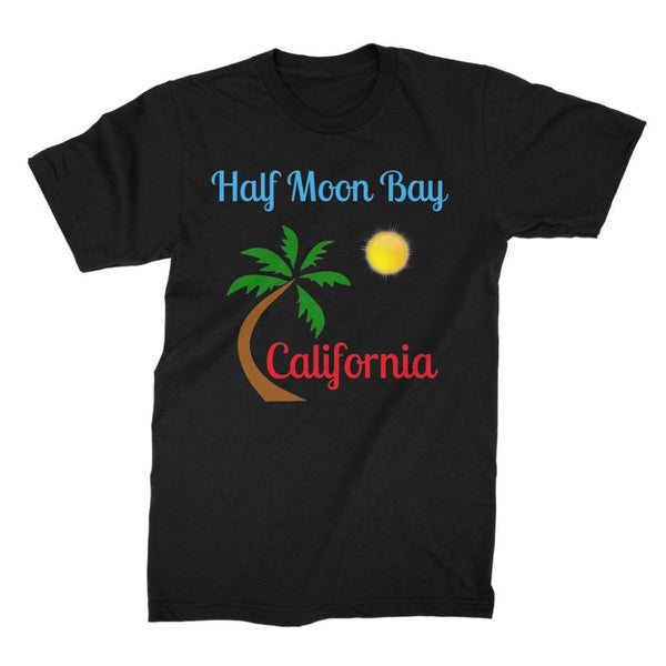 Half Moon Bay California Unisex Fine Jersey T-Shirt S / Black Apparel