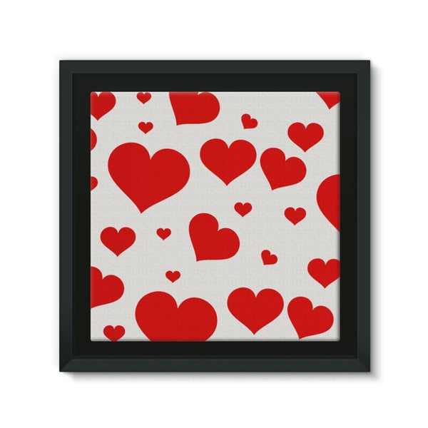 Heart Love Pattern Framed Canvas 12X12 Wall Decor