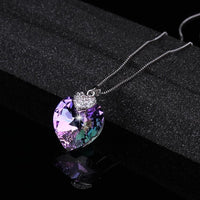 Heart Shape Amethyst Crystal Pendant Necklace With Chain