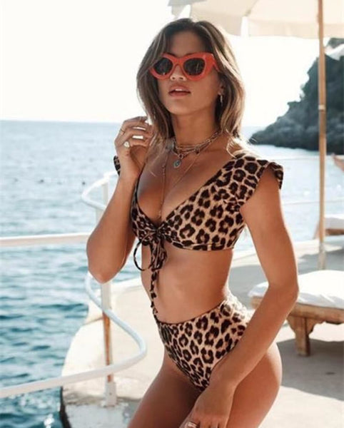 High Waist Leopard Bikini Set Swimsuit 2 S