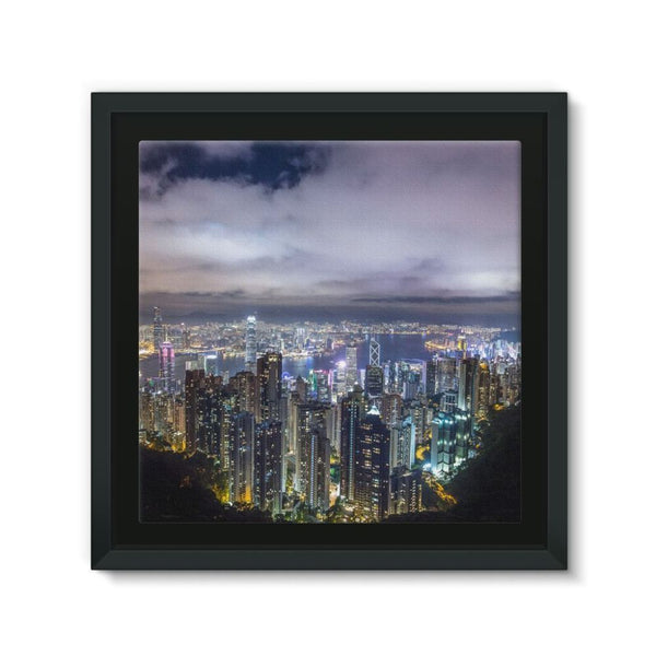 Hong Kong City Dark Night Framed Canvas 12X12 Wall Decor