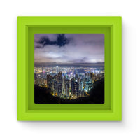 Hong Kong City Dark Night Magnet Frame Green Homeware
