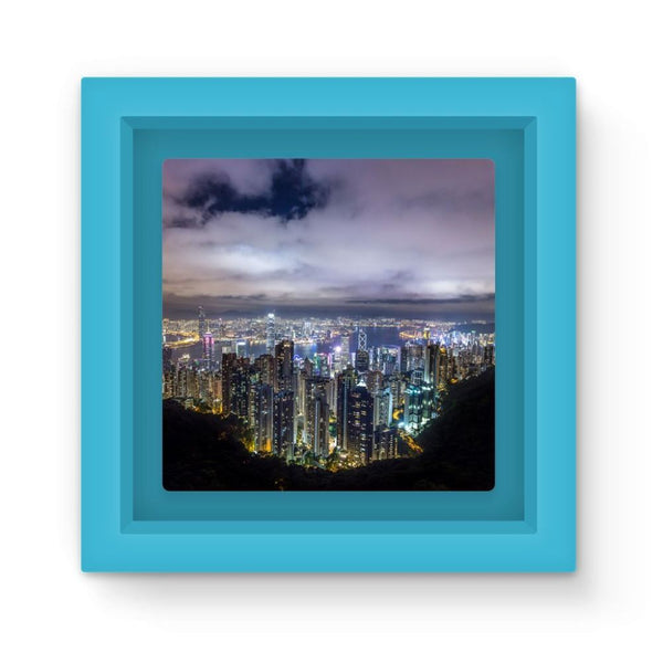 Hong Kong City Dark Night Magnet Frame Light Blue Homeware