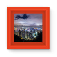 Hong Kong City Dark Night Magnet Frame Red Homeware