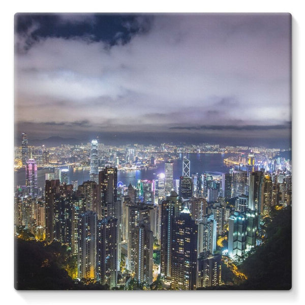 Hong Kong City Dark Night Stretched Canvas 10X10 Wall Decor