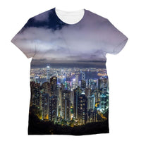 Hong Kong City Dark Night Sublimation T-Shirt S Apparel