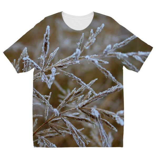 Ice Frozen On Plant Branches Kids Sublimation T-Shirt 3-4 Years Apparel