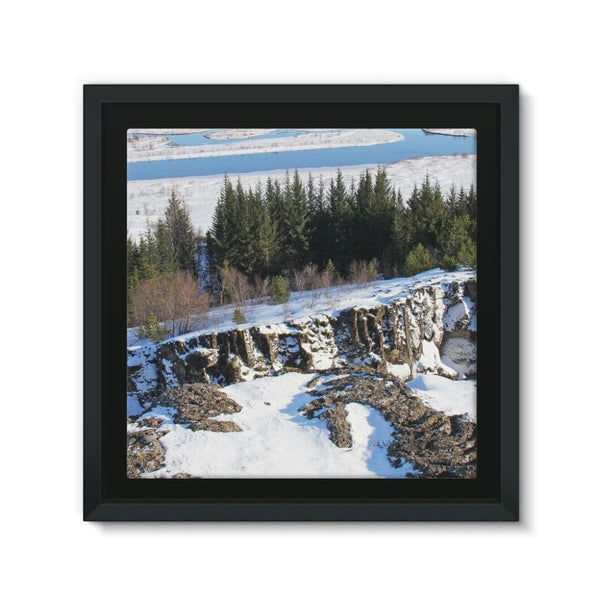 Ice Frozen On Rocky Mountain Framed Canvas 12X12 Wall Decor