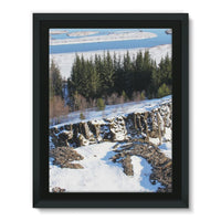 Ice Frozen On Rocky Mountain Framed Canvas 12X16 Wall Decor