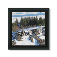 Ice Frozen On Rocky Mountain Framed Canvas 14X14 Wall Decor