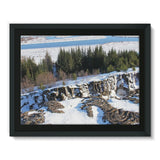 Ice Frozen On Rocky Mountain Framed Canvas 16X12 Wall Decor