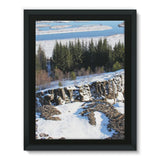 Ice Frozen On Rocky Mountain Framed Canvas 18X24 Wall Decor