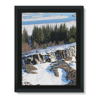 Ice Frozen On Rocky Mountain Framed Canvas 24X32 Wall Decor