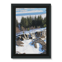 Ice Frozen On Rocky Mountain Framed Canvas 24X36 Wall Decor