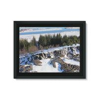 Ice Frozen On Rocky Mountain Framed Canvas 32X24 Wall Decor