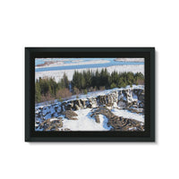 Ice Frozen On Rocky Mountain Framed Canvas 36X24 Wall Decor