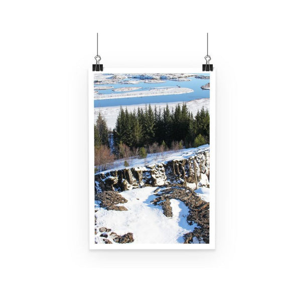 Ice Frozen On Rocky Mountain Poster A3 Wall Decor