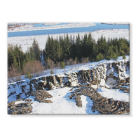 Ice Frozen On Rocky Mountain Stretched Canvas 16X12 Wall Decor