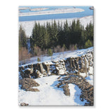 Ice Frozen On Rocky Mountain Stretched Canvas 18X24 Wall Decor